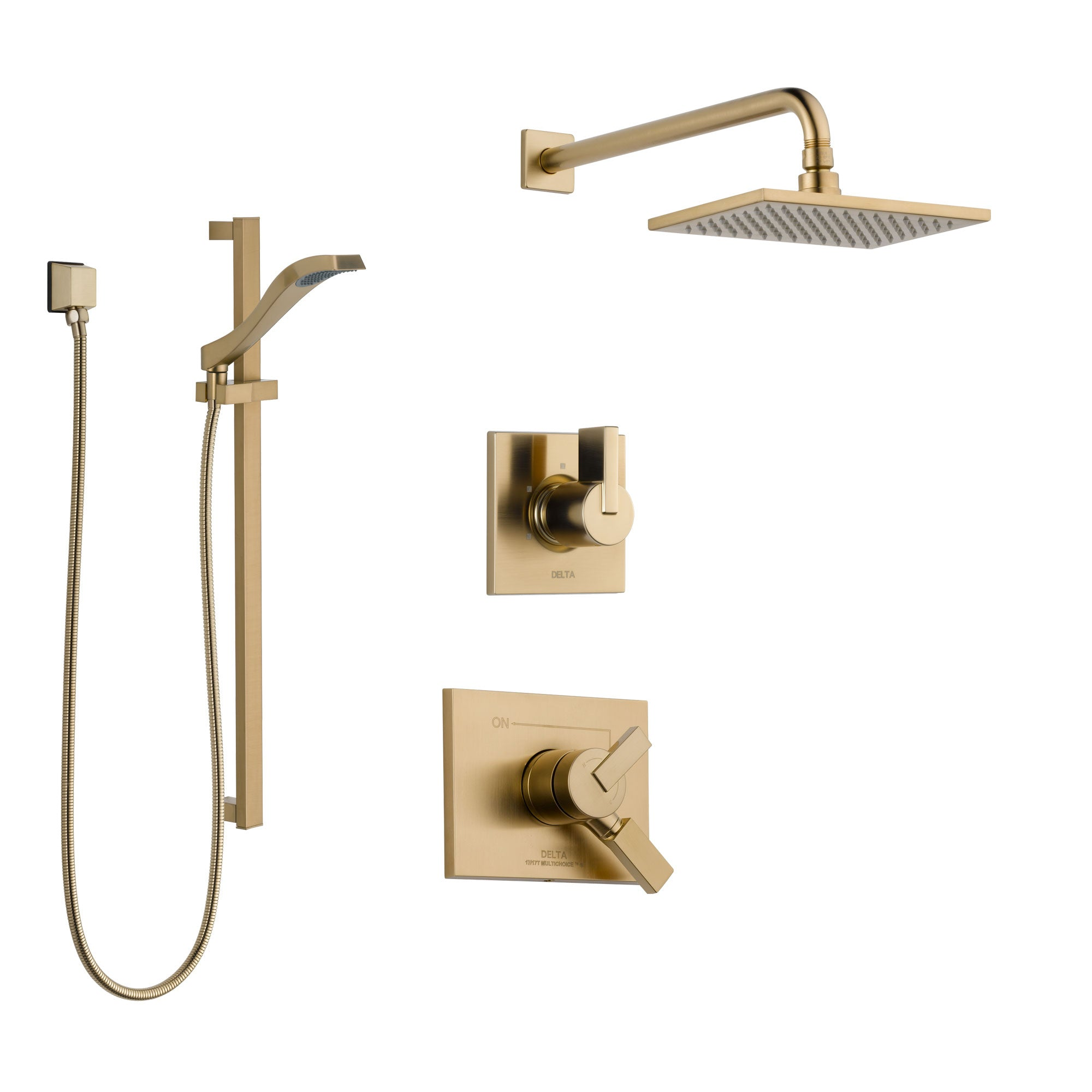 Delta Vero Champagne Bronze Finish Shower System with Dual Control Handle, 3-Setting Diverter, Showerhead, and Hand Shower with Slidebar SS17253CZ2