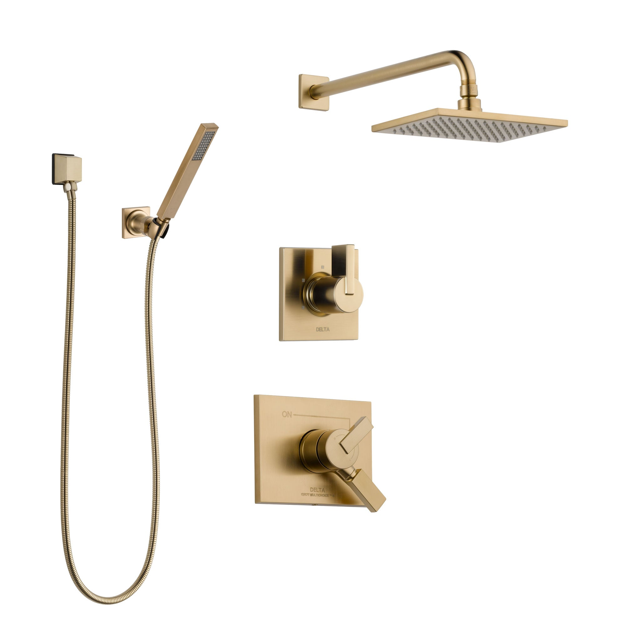 Delta Vero Champagne Bronze Shower System with Dual Control Handle, 3-Setting Diverter, Showerhead, and Hand Shower with Wall Bracket SS17253CZ3