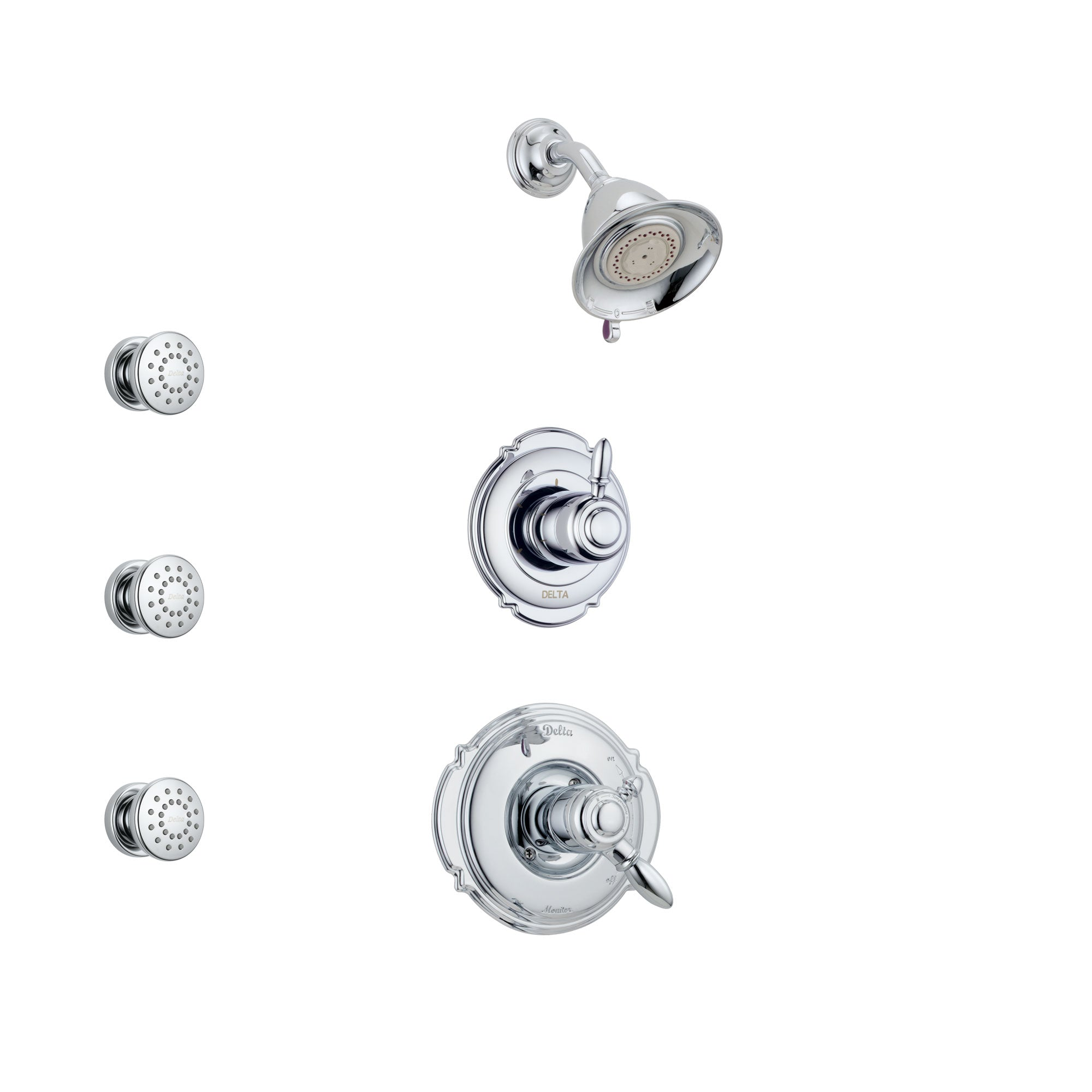 Delta Victorian Chrome Finish Shower System with Dual Control Handle, 3-Setting Diverter, Showerhead, and 3 Body Sprays SS1725511