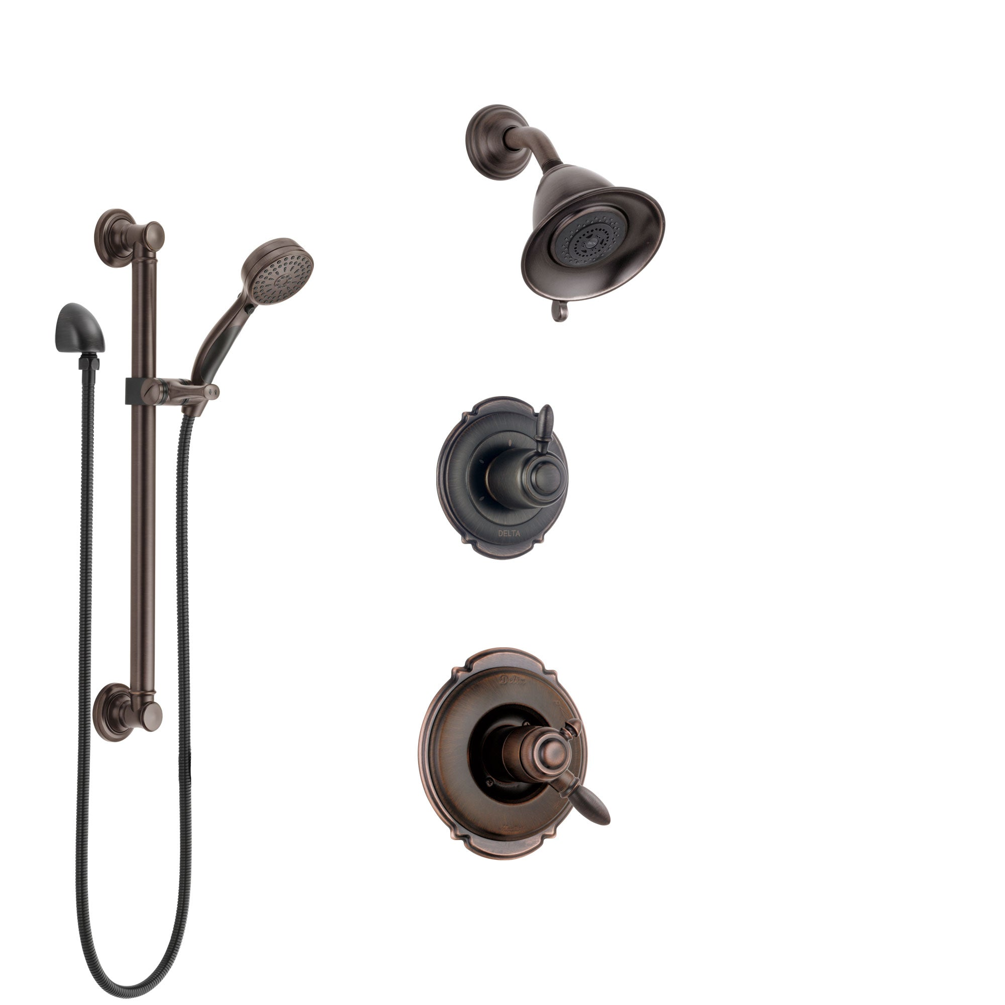 Delta Victorian Venetian Bronze Shower System with Dual Control Handle, 3-Setting Diverter, Showerhead, and Hand Shower with Grab Bar SS172551RB3