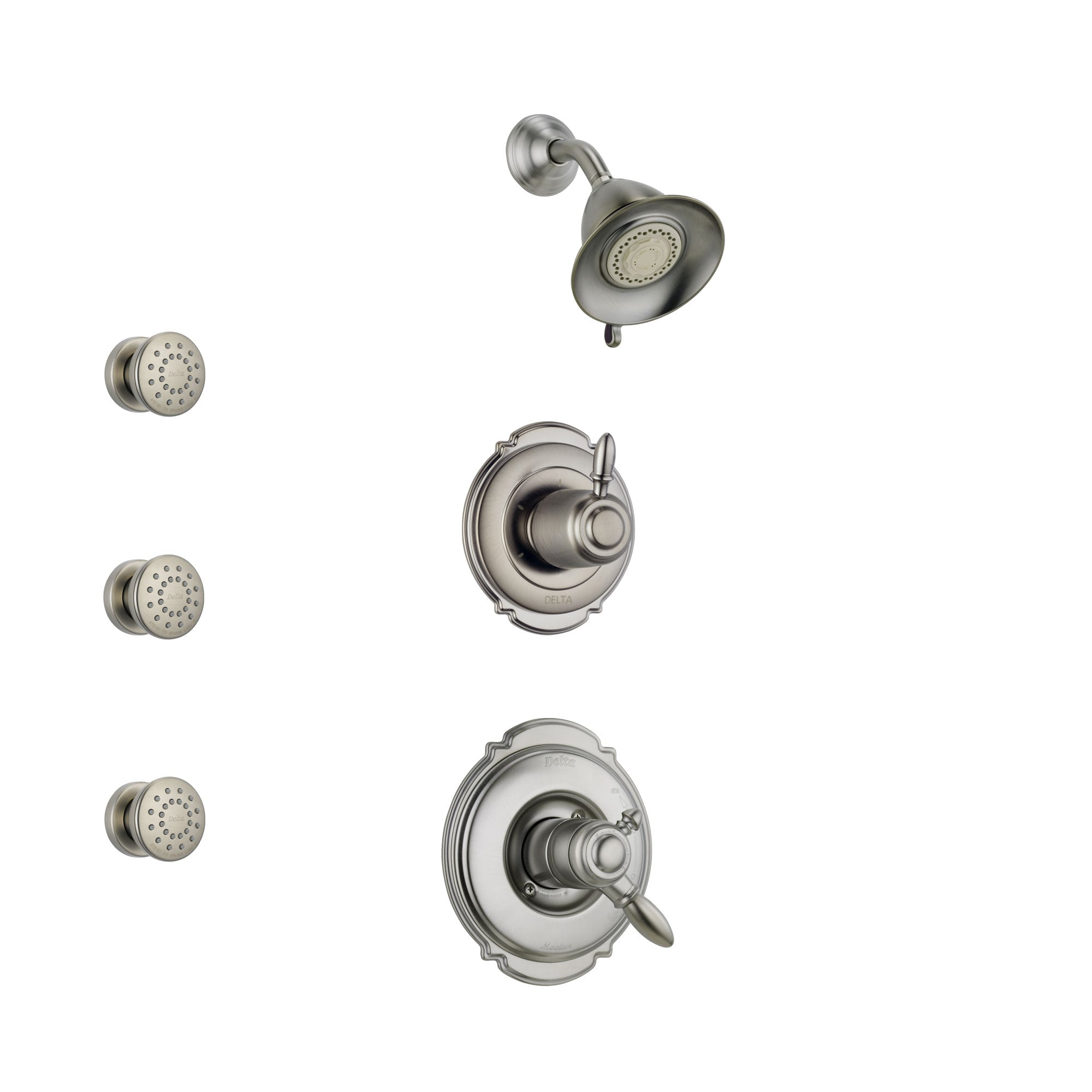 Delta Victorian Stainless Steel Finish Shower System with Dual Control Handle, 3-Setting Diverter, Showerhead, and 3 Body Sprays SS172551SS1