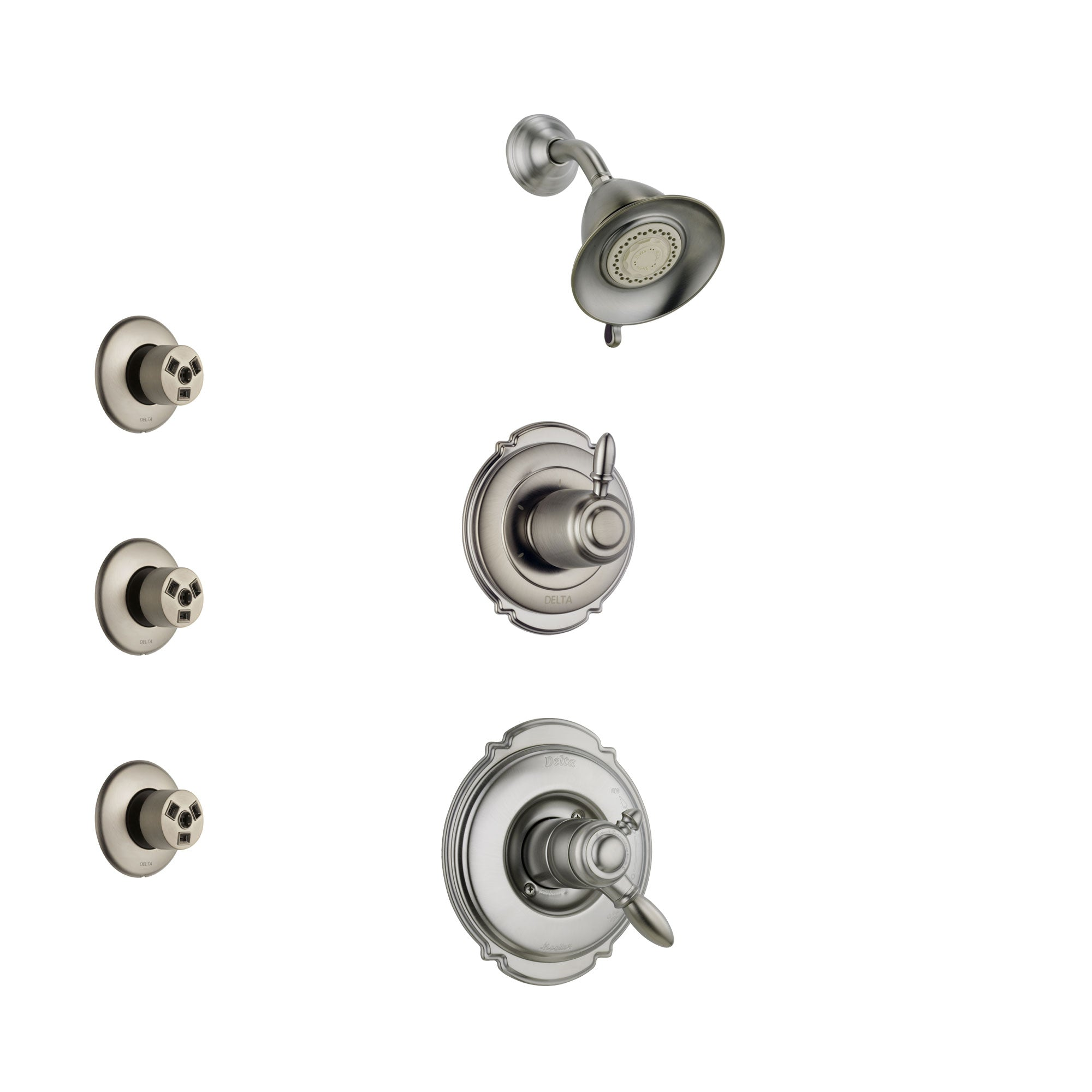 Delta Victorian Stainless Steel Finish Shower System with Dual Control Handle, 3-Setting Diverter, Showerhead, and 3 Body Sprays SS172551SS2