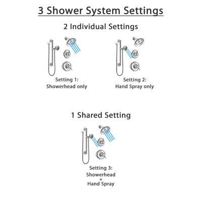 Delta Victorian Chrome Finish Shower System with Dual Control Handle, 3-Setting Diverter, Showerhead, and Hand Shower with Grab Bar SS1725525