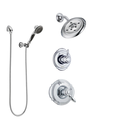 Delta Victorian Chrome Finish Shower System with Dual Control Handle, 3-Setting Diverter, Showerhead, and Hand Shower with Wall Bracket SS1725526