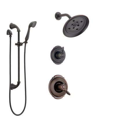 Delta Victorian Venetian Bronze Shower System with Dual Control Handle, 3-Setting Diverter, Showerhead, and Hand Shower with Slidebar SS172552RB4