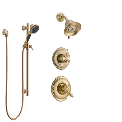 Delta Victorian Champagne Bronze Shower System with Dual Control Handle, 3-Setting Diverter, Showerhead, and Hand Shower with Slidebar SS17255CZ3