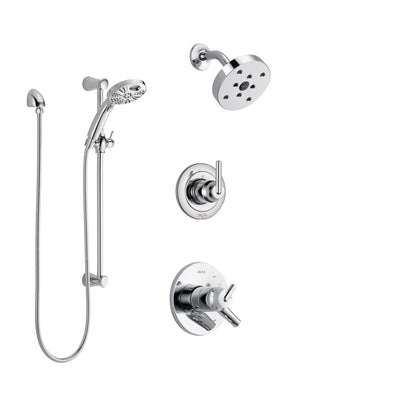 Delta Trinsic Chrome Finish Shower System with Dual Control Handle, 3-Setting Diverter, Showerhead, and Temp2O Hand Shower with Slidebar SS1725914