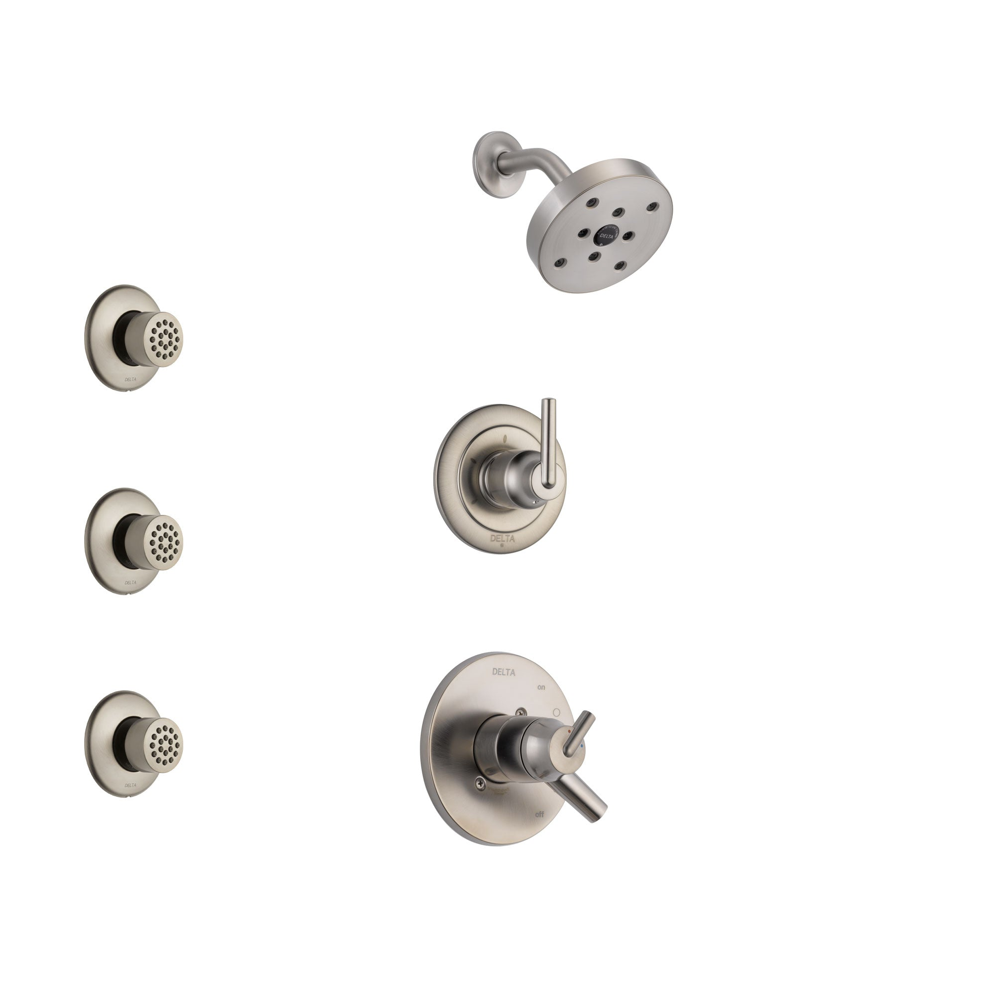 Delta Trinsic Stainless Steel Finish Shower System with Dual Control Handle, 3-Setting Diverter, Showerhead, and 3 Body Sprays SS172591SS2