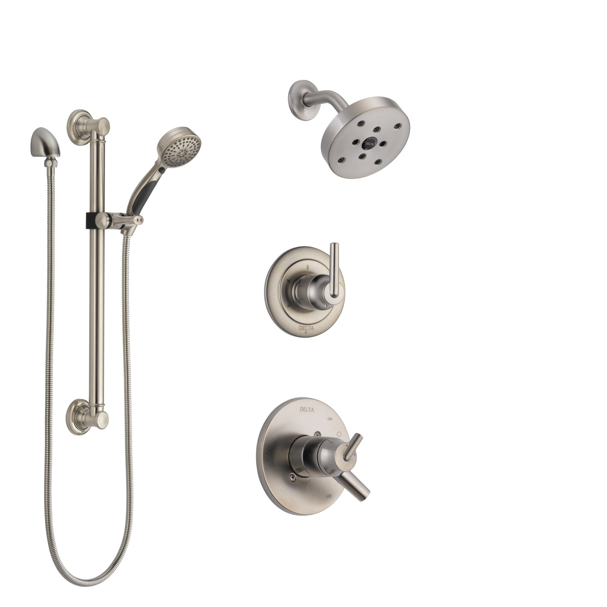 Delta Trinsic Stainless Steel Finish Shower System with Dual Control Handle, 3-Setting Diverter, Showerhead, and Hand Shower with Grab Bar SS172591SS3