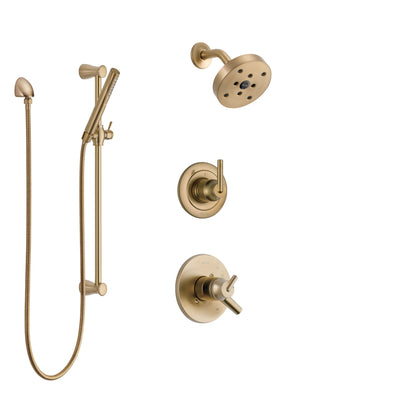 Delta Trinsic Champagne Bronze Finish Shower System with Dual Control Handle, 3-Setting Diverter, Showerhead, and Hand Shower with Slidebar SS17259CZ2