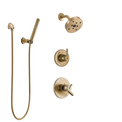 Delta Trinsic Champagne Bronze Shower System with Dual Control Handle, 3-Setting Diverter, Showerhead, and Hand Shower with Wall Bracket SS17259CZ3