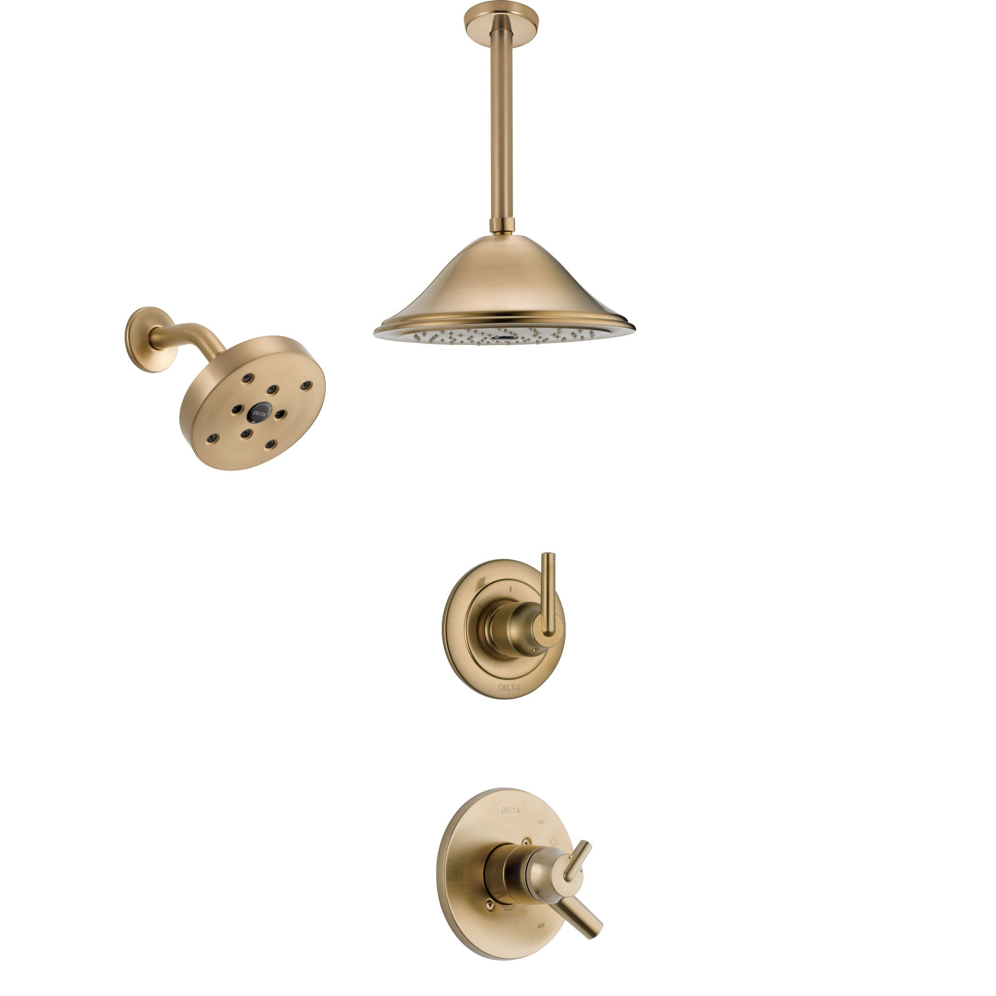 Delta Trinsic Champagne Bronze Finish Shower System with Dual Control Handle, 3-Setting Diverter, Showerhead, and Ceiling Mount Showerhead SS17259CZ4
