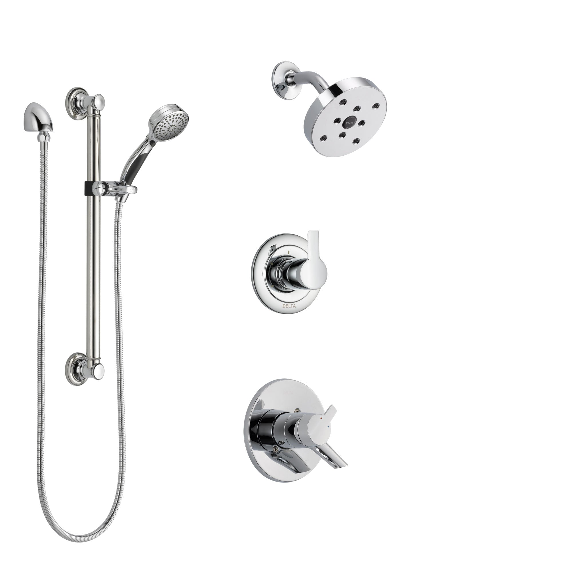 Delta Compel Chrome Finish Shower System with Dual Control Handle, 3-Setting Diverter, Showerhead, and Hand Shower with Grab Bar SS172613