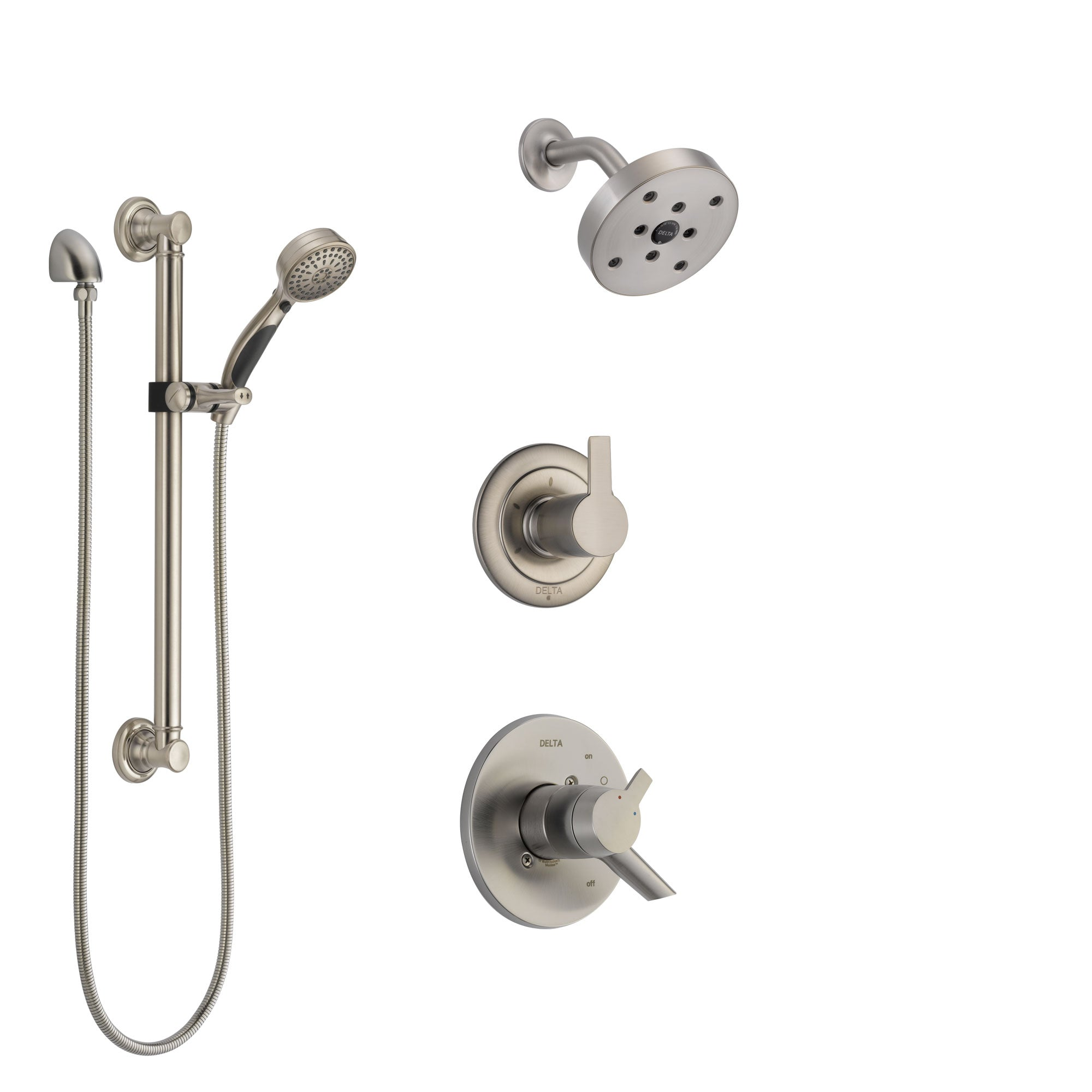 Delta Compel Stainless Steel Finish Shower System with Dual Control Handle, 3-Setting Diverter, Showerhead, and Hand Shower with Grab Bar SS17261SS3