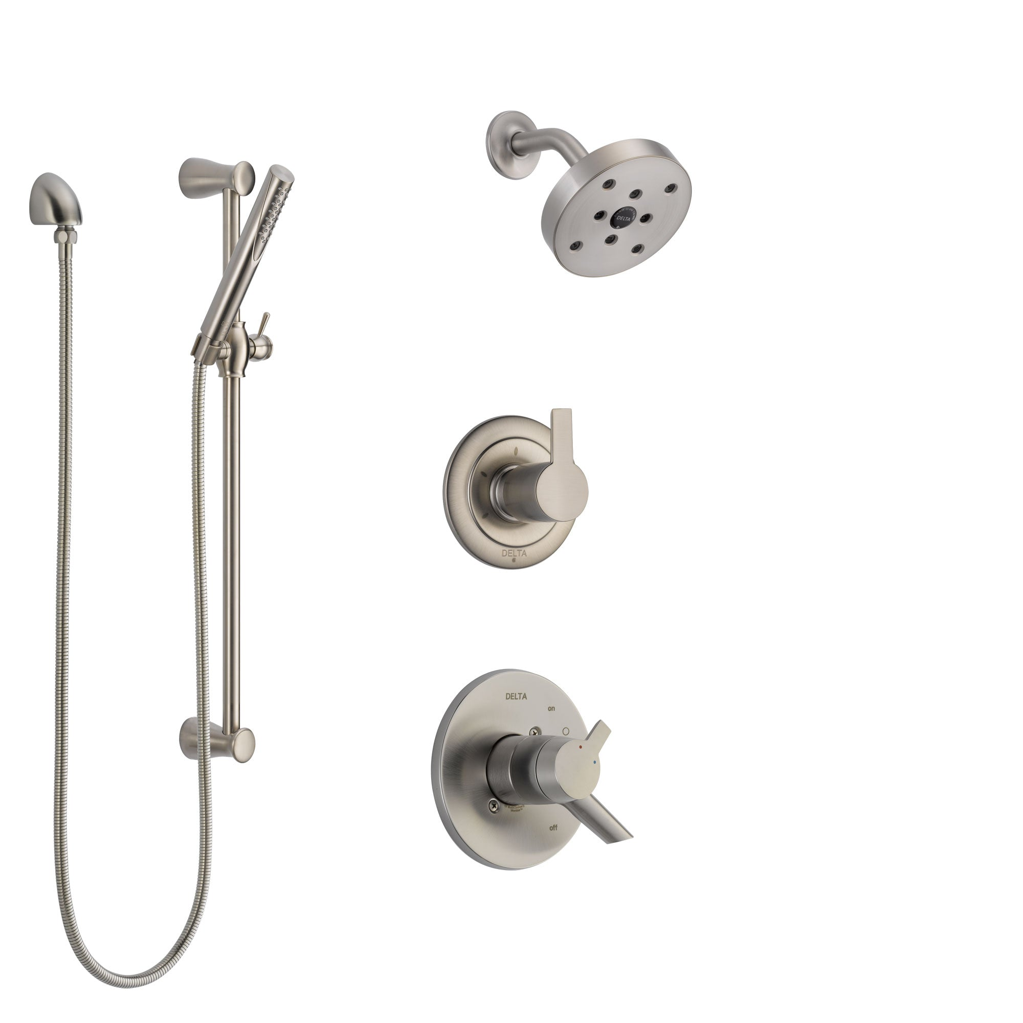 Delta Compel Stainless Steel Finish Shower System with Dual Control Handle, 3-Setting Diverter, Showerhead, and Hand Shower with Slidebar SS17261SS5