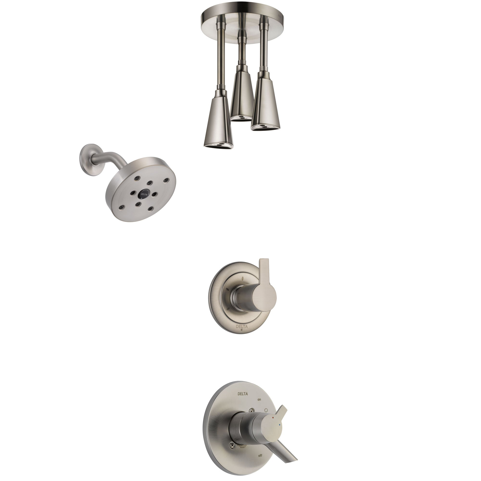 Delta Compel Stainless Steel Finish Shower System with Dual Control Handle, 3-Setting Diverter, Showerhead, and Ceiling Mount Showerhead SS17261SS6