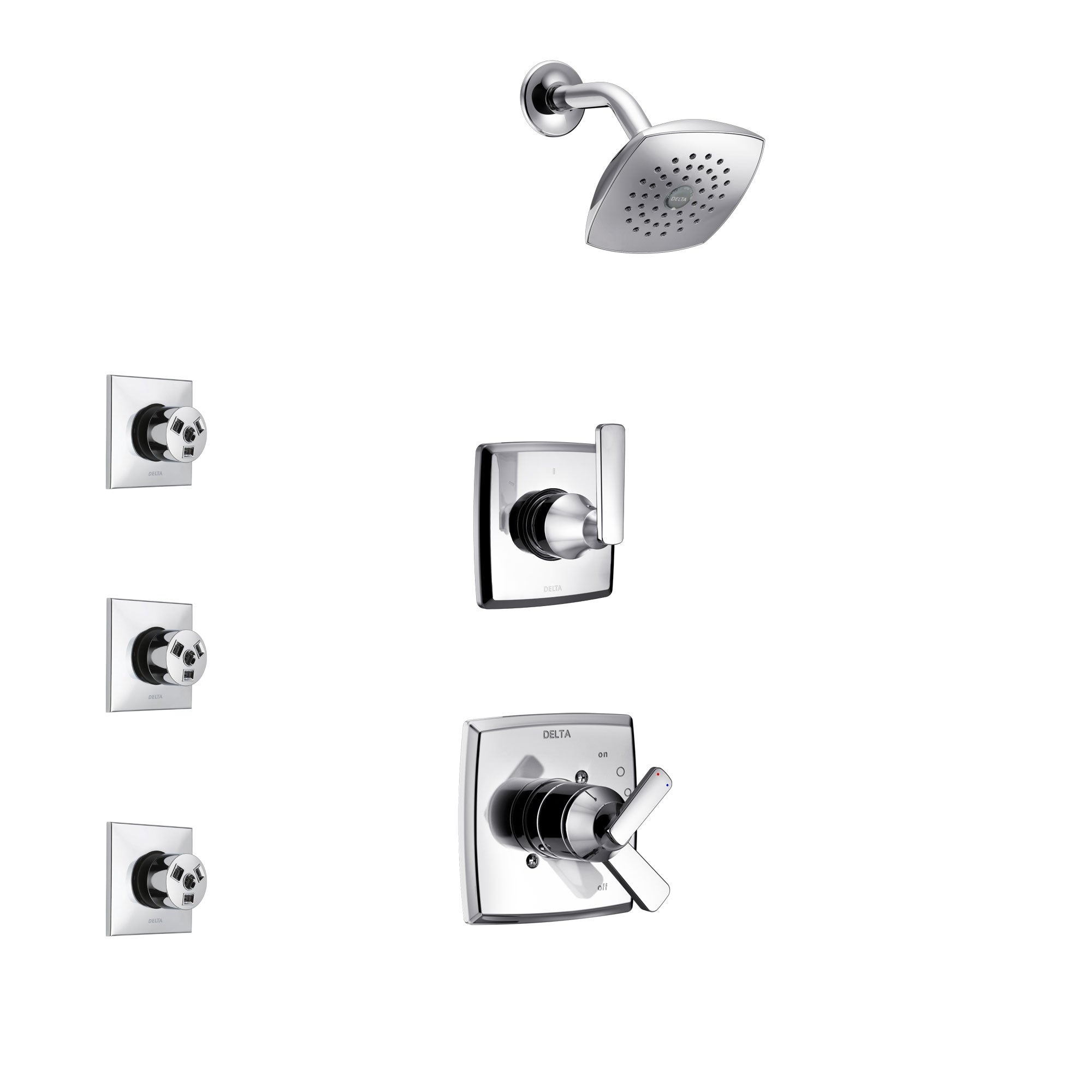 Delta Ashlyn Chrome Finish Shower System with Dual Control Handle, 3-Setting Diverter, Showerhead, and 3 Body Sprays SS172642