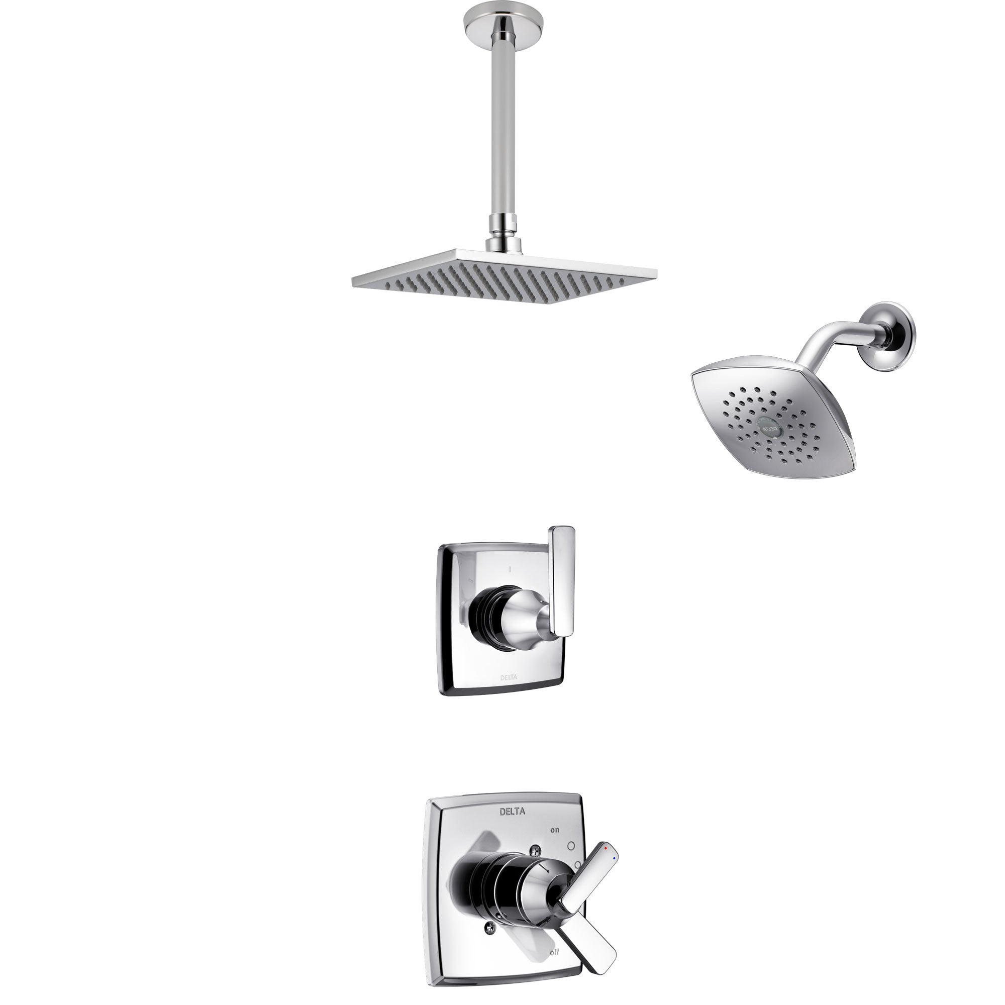 Delta Ashlyn Chrome Finish Shower System with Dual Control Handle, 3-Setting Diverter, Showerhead, and Ceiling Mount Showerhead SS172644