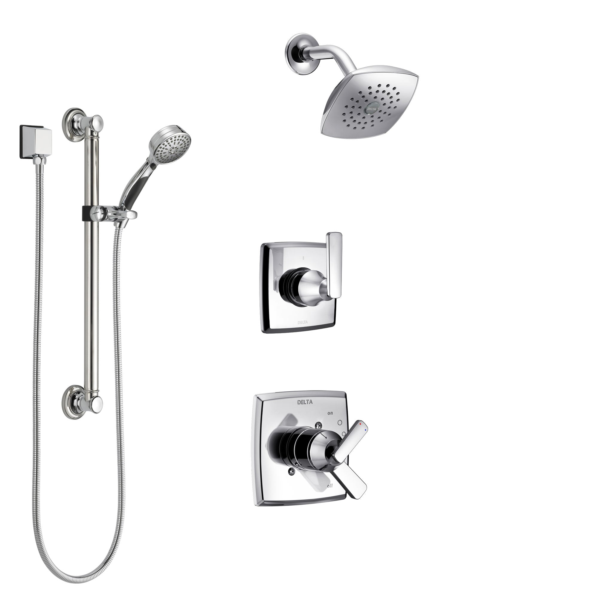 Delta Ashlyn Chrome Finish Shower System with Dual Control Handle, 3-Setting Diverter, Showerhead, and Hand Shower with Grab Bar SS172645