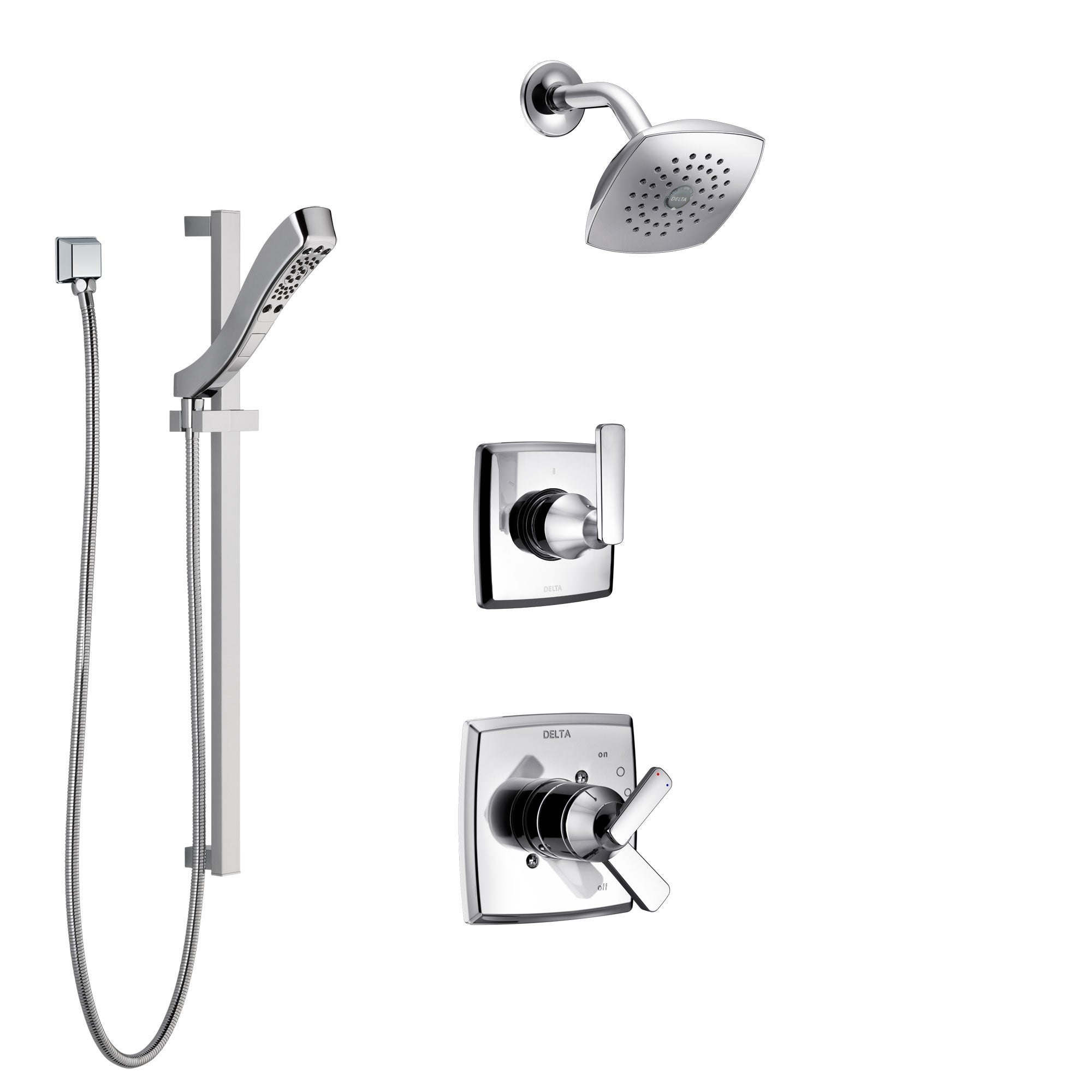 Delta Ashlyn Chrome Finish Shower System with Dual Control Handle, 3-Setting Diverter, Showerhead, and Hand Shower with Slidebar SS172646