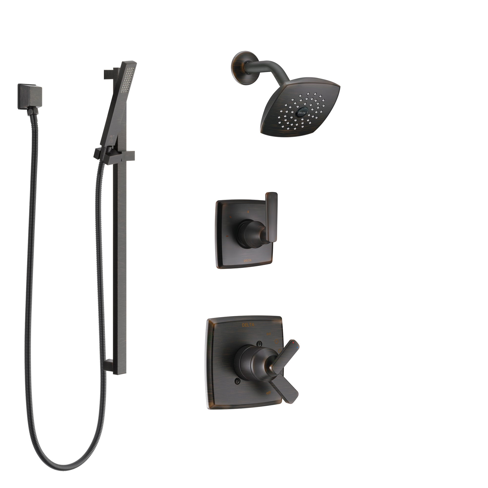 Delta Ashlyn Venetian Bronze Finish Shower System with Dual Control Handle, 3-Setting Diverter, Showerhead, and Hand Shower with Slidebar SS17264RB4