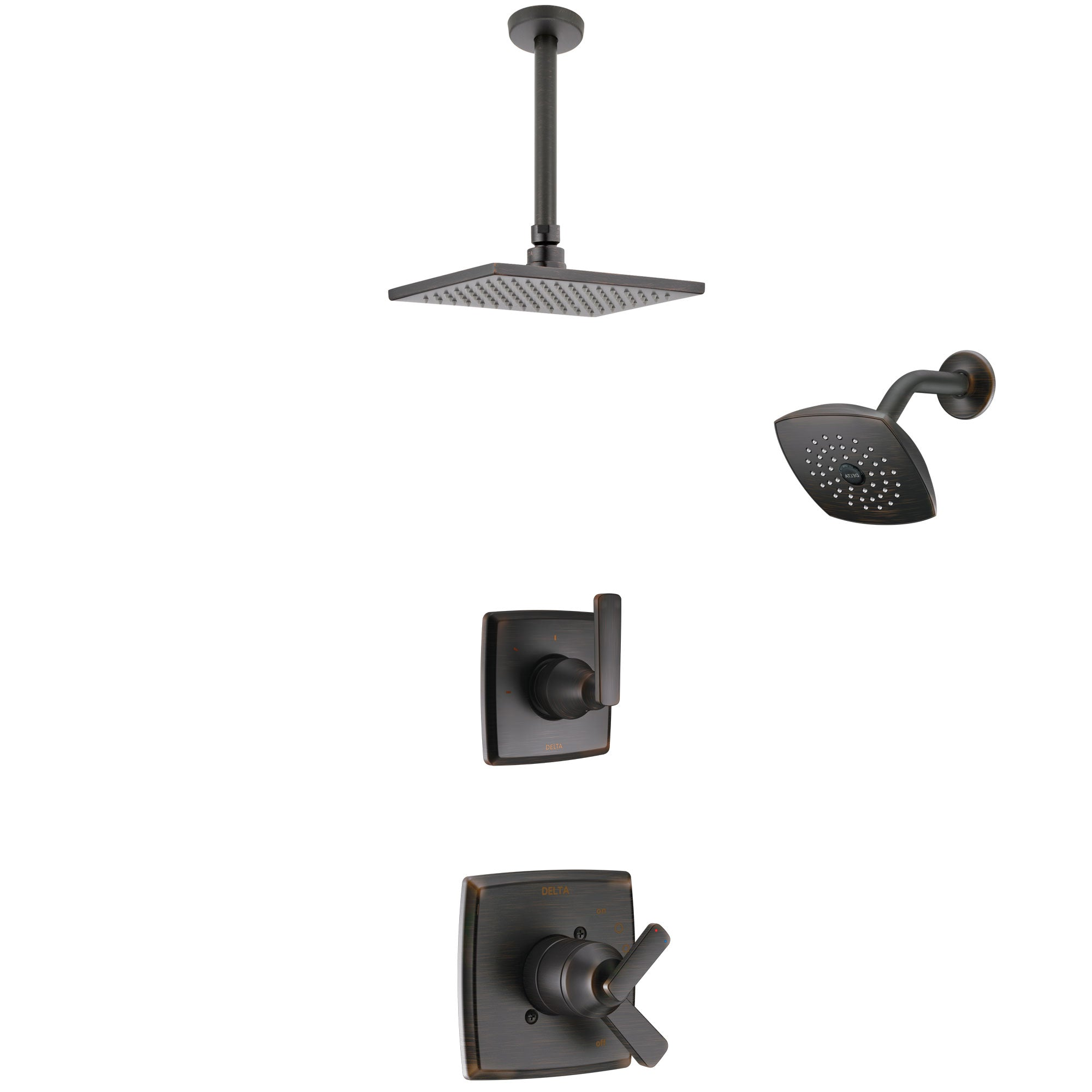 Delta Ashlyn Venetian Bronze Finish Shower System with Dual Control Handle, 3-Setting Diverter, Showerhead, and Ceiling Mount Showerhead SS17264RB5