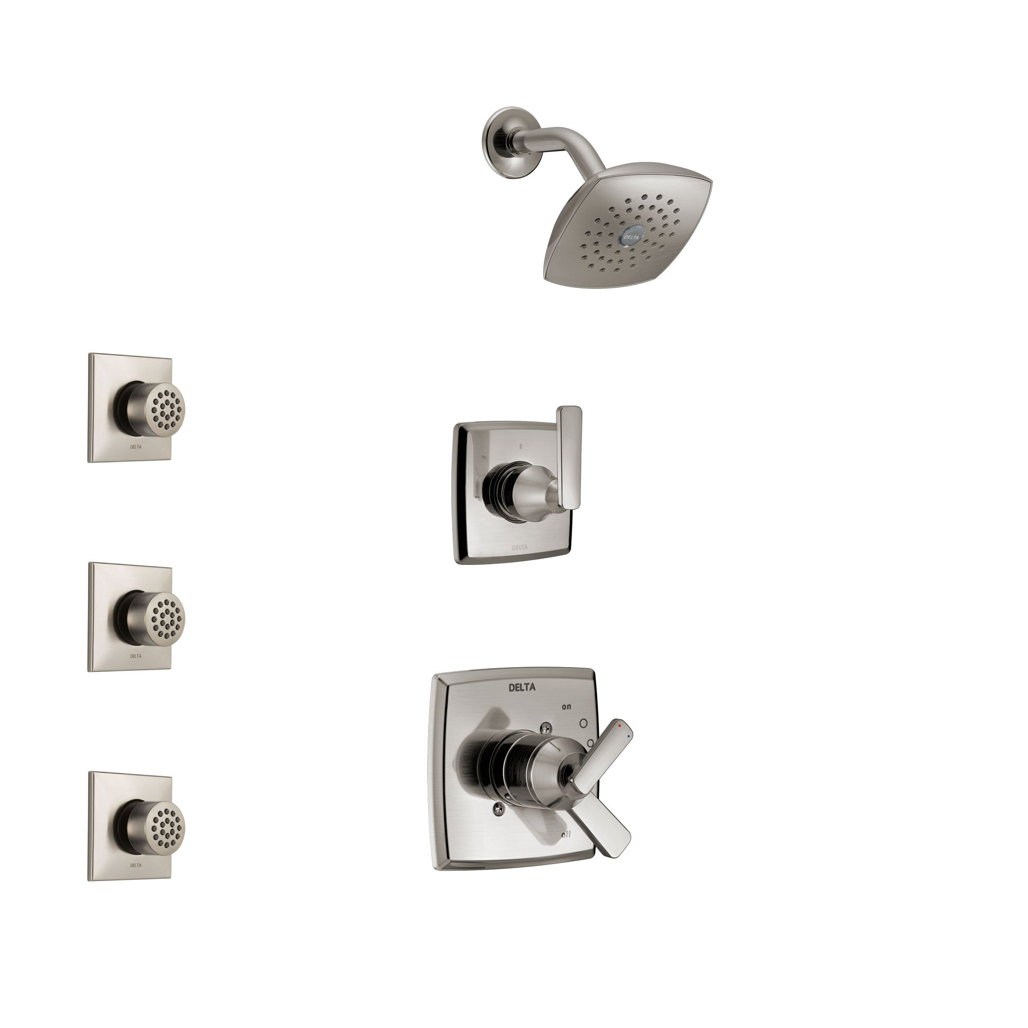 Delta Ashlyn Stainless Steel Finish Shower System with Dual Control Handle, 3-Setting Diverter, Showerhead, and 3 Body Sprays SS17264SS2