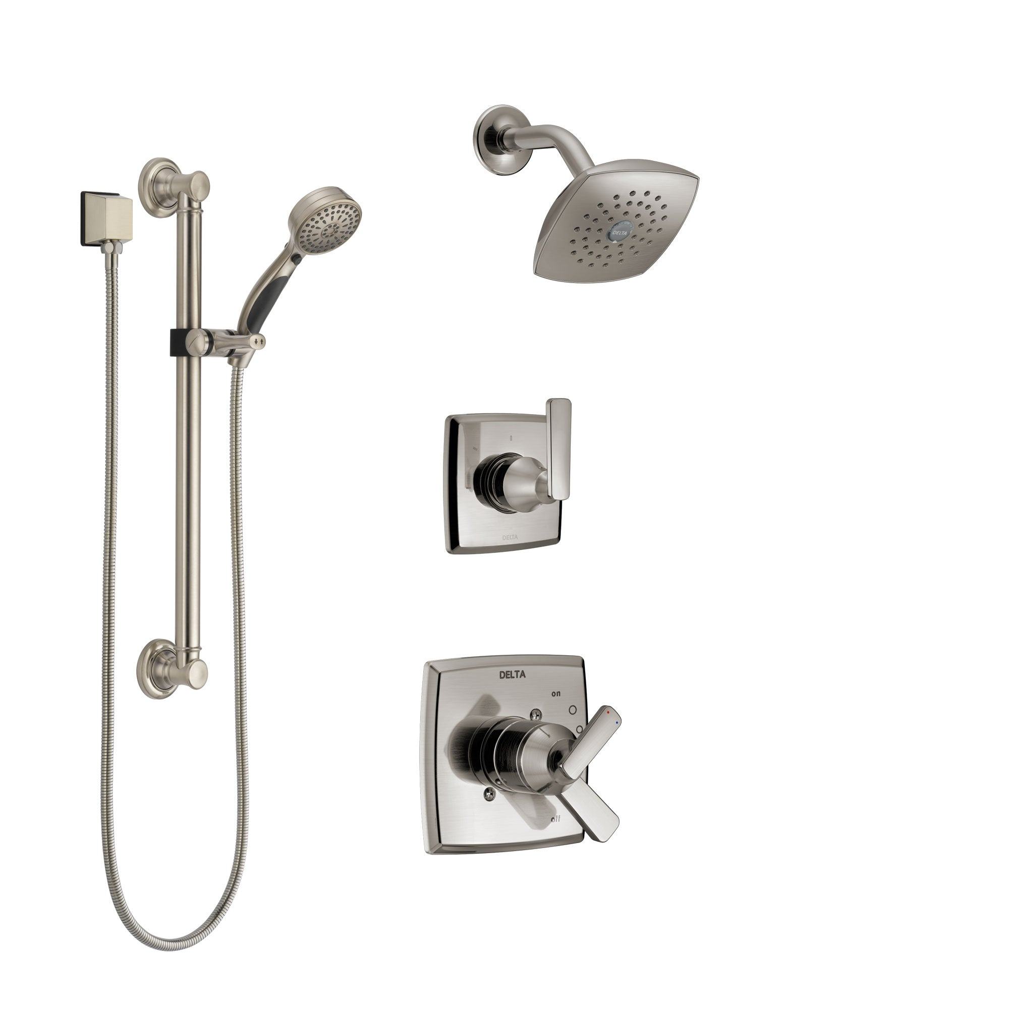 Delta Ashlyn Stainless Steel Finish Shower System with Dual Control Handle, 3-Setting Diverter, Showerhead, and Hand Shower with Grab Bar SS17264SS3