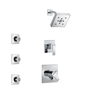 Delta Ara Chrome Finish Shower System with Dual Control Handle, 3-Setting Diverter, Showerhead, and 3 Body Sprays SS172671