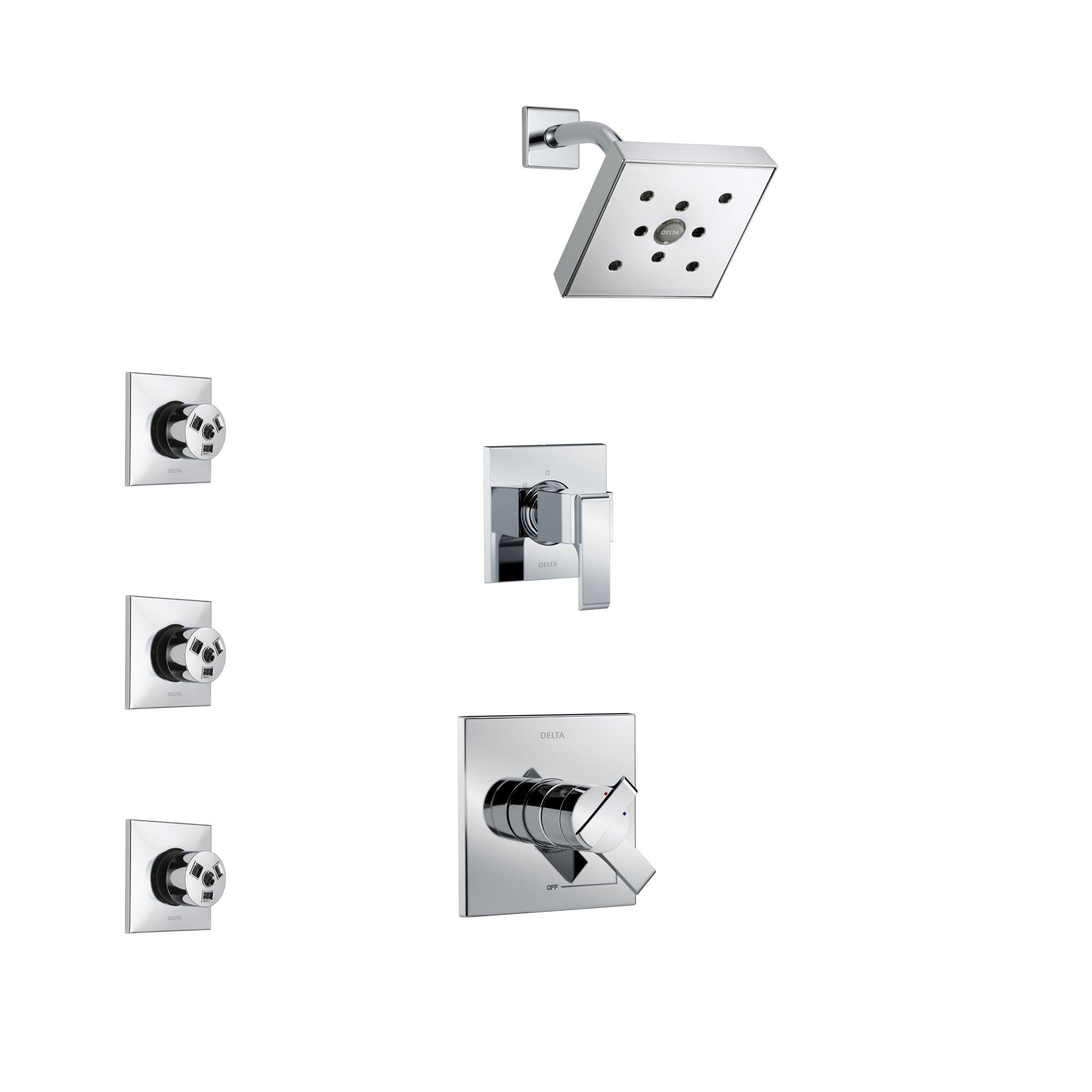 Delta Ara Chrome Finish Shower System with Dual Control Handle, 3-Setting Diverter, Showerhead, and 3 Body Sprays SS172672