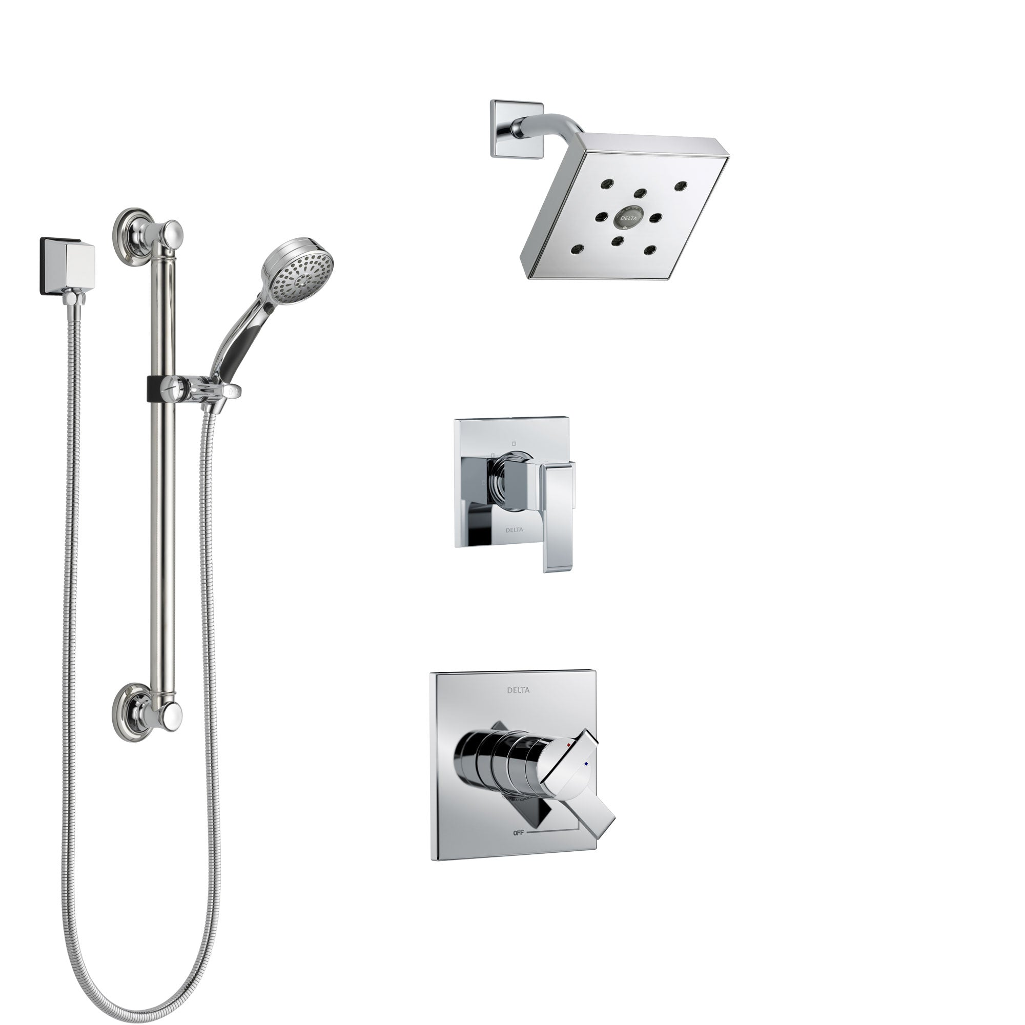 Delta Ara Chrome Finish Shower System with Dual Control Handle, 3-Setting Diverter, Showerhead, and Hand Shower with Grab Bar SS172673