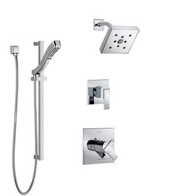 Delta Ara Chrome Finish Shower System with Dual Control Handle, 3-Setting Diverter, Showerhead, and Hand Shower with Slidebar SS172674