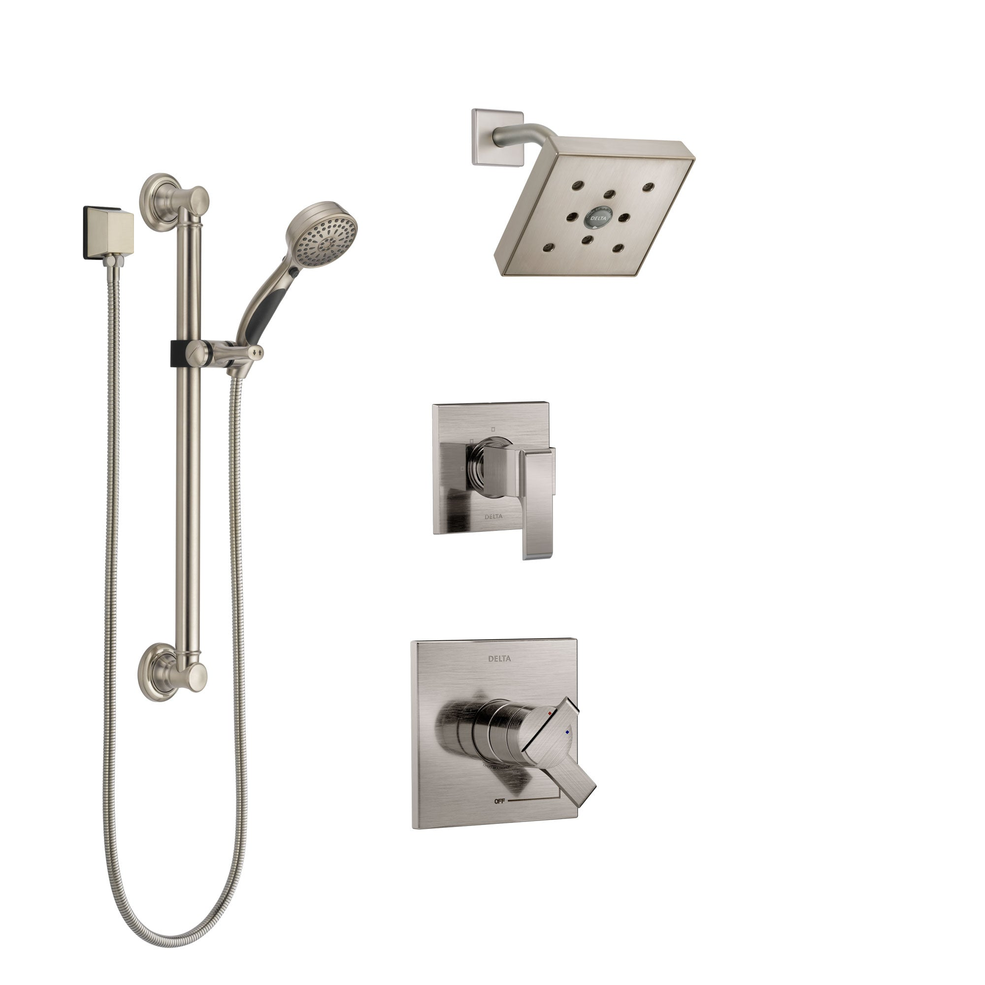 Delta Ara Stainless Steel Finish Shower System with Dual Control Handle, 3-Setting Diverter, Showerhead, and Hand Shower with Grab Bar SS17267SS3