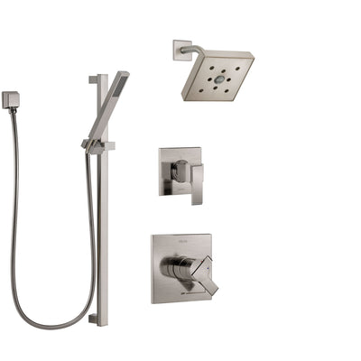 Delta Ara Stainless Steel Finish Shower System with Dual Control Handle, 3-Setting Diverter, Showerhead, and Hand Shower with Slidebar SS17267SS4