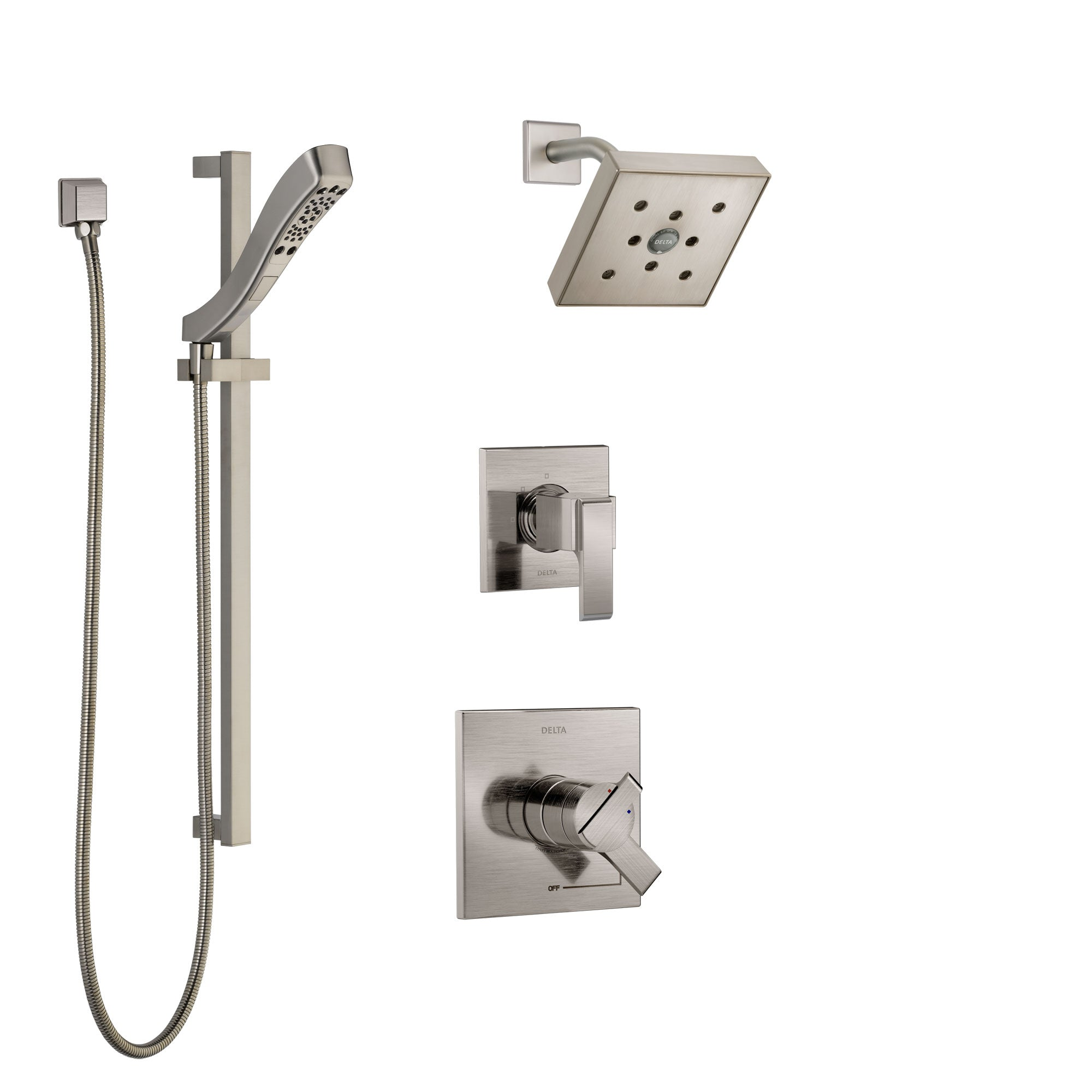 Delta Ara Stainless Steel Finish Shower System with Dual Control Handle, 3-Setting Diverter, Showerhead, and Hand Shower with Slidebar SS17267SS5