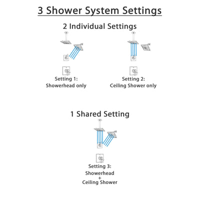Delta Zura Chrome Finish Shower System with Dual Control Handle, 3-Setting Diverter, Showerhead, and Ceiling Mount Showerhead SS172743