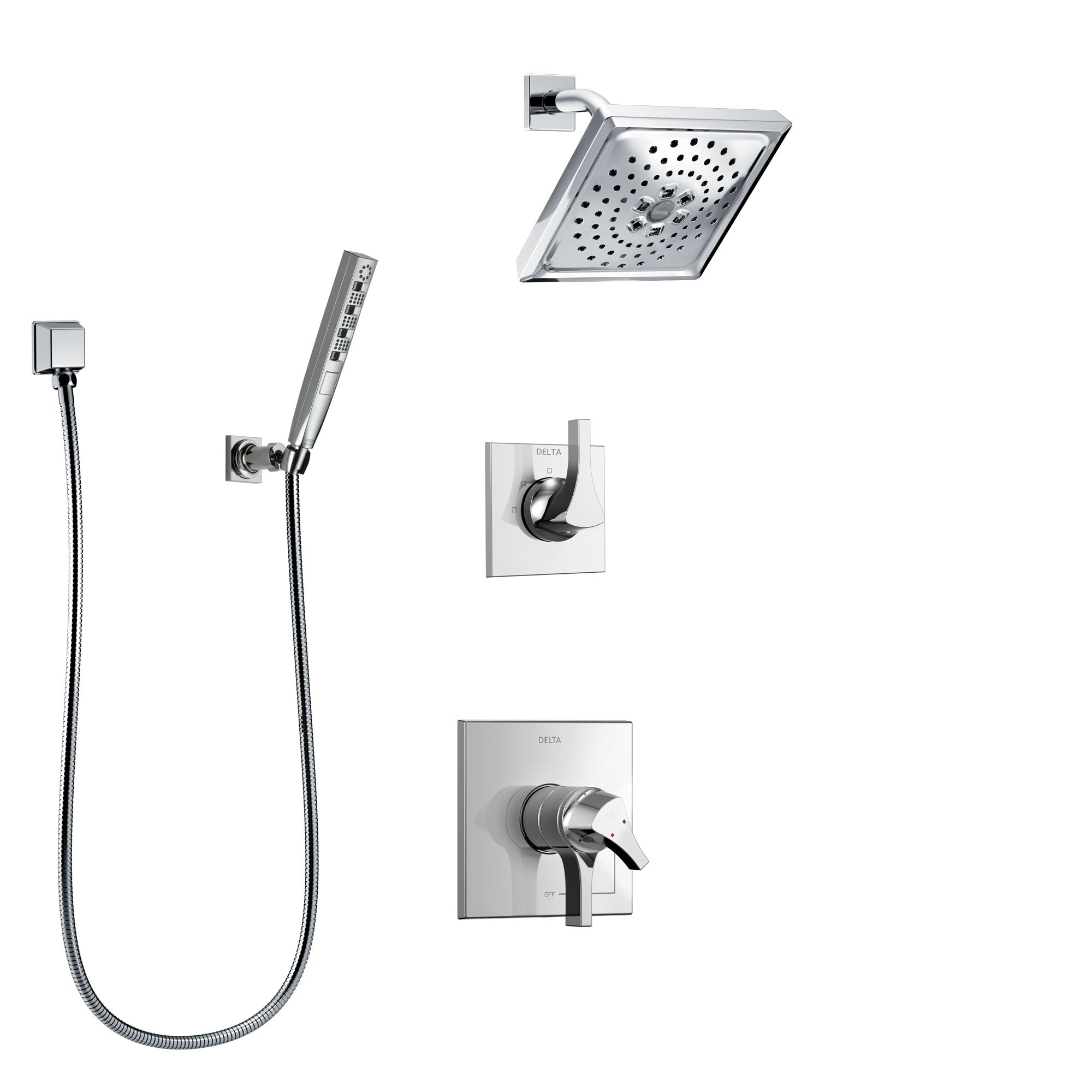 Delta Zura Chrome Finish Shower System with Dual Control Handle, 3-Setting Diverter, Showerhead, and Hand Shower with Wall Bracket SS172745