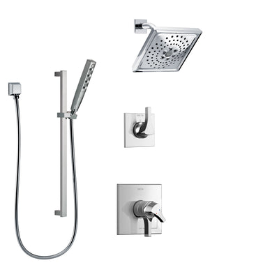 Delta Zura Chrome Finish Shower System with Dual Control Handle, 3-Setting Diverter, Showerhead, and Hand Shower with Slidebar SS172746