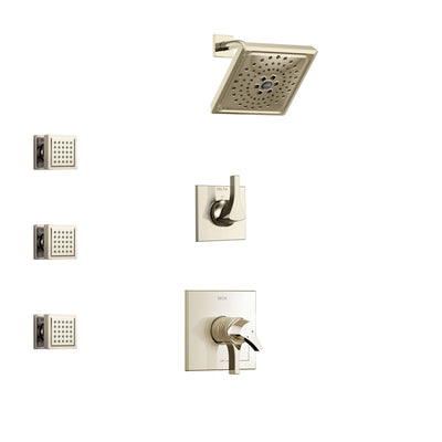 Delta Zura Polished Nickel Finish Shower System with Dual Control Handle, 3-Setting Diverter, Showerhead, and 3 Body Sprays SS17274PN1