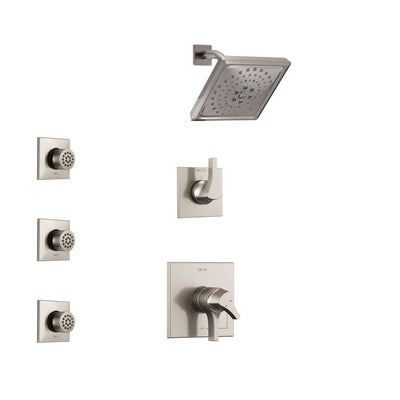 Delta Zura Stainless Steel Finish Shower System with Dual Control Handle, 3-Setting Diverter, Showerhead, and 3 Body Sprays SS17274SS2