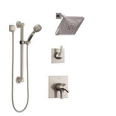 Delta Zura Stainless Steel Finish Shower System with Dual Control Handle, 3-Setting Diverter, Showerhead, and Hand Shower with Grab Bar SS17274SS3