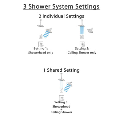Delta Zura Stainless Steel Finish Shower System with Dual Control Handle, 3-Setting Diverter, Showerhead, and Ceiling Mount Showerhead SS17274SS6