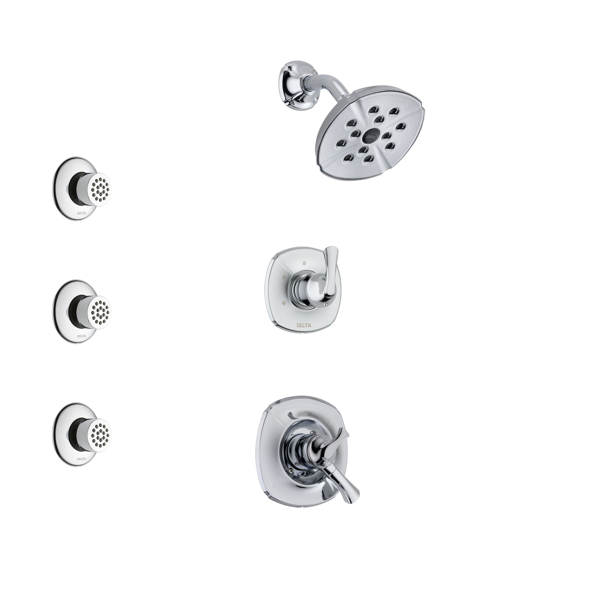 Delta Addison Chrome Finish Shower System with Dual Control Handle, 3-Setting Diverter, Showerhead, and 3 Body Sprays SS172921