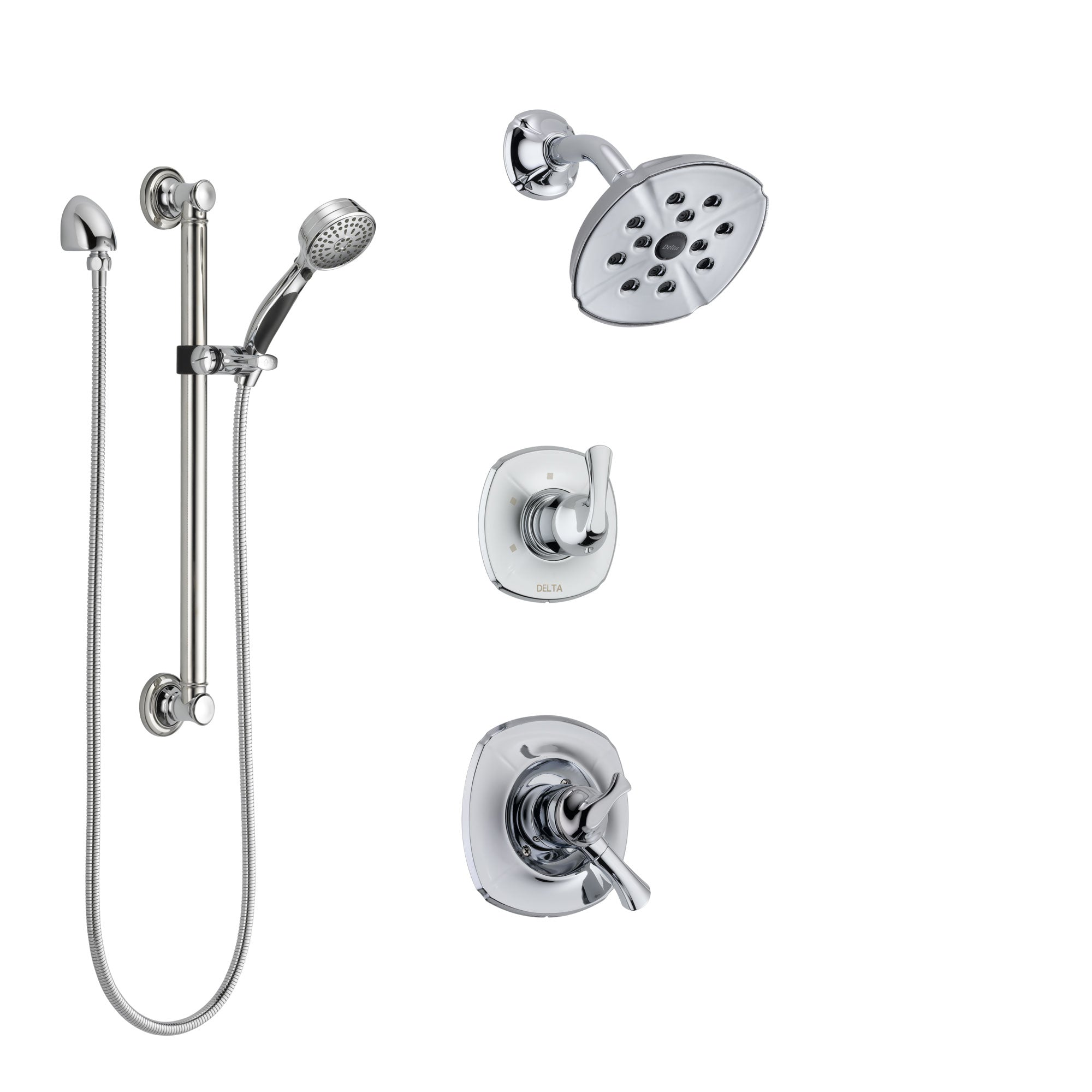 Delta Addison Chrome Finish Shower System with Dual Control Handle, 3-Setting Diverter, Showerhead, and Hand Shower with Grab Bar SS172923