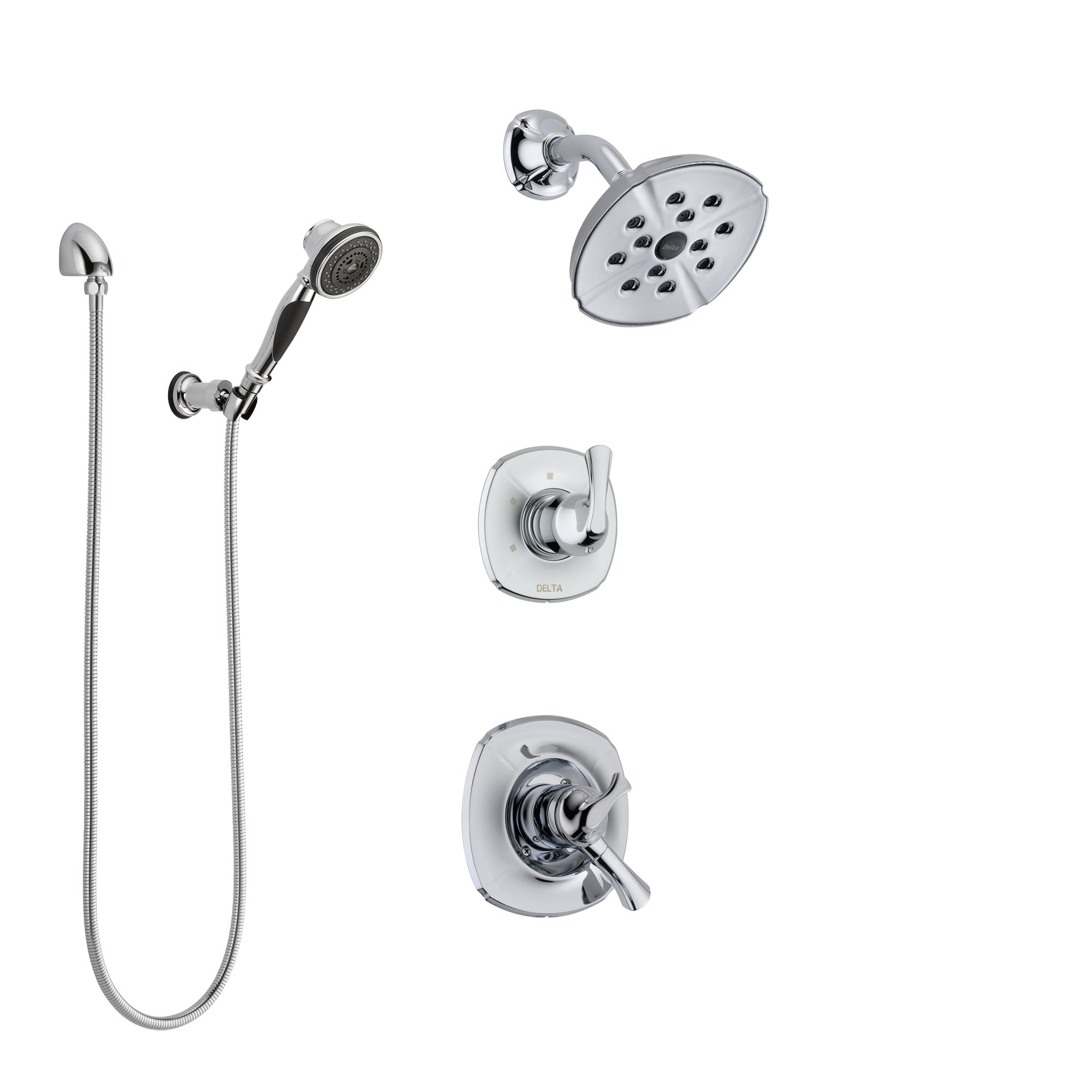 Delta Addison Chrome Finish Shower System with Dual Control Handle, 3-Setting Diverter, Showerhead, and Hand Shower with Wall Bracket SS172926