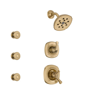Delta Addison Champagne Bronze Finish Shower System with Dual Control Handle, 3-Setting Diverter, Showerhead, and 3 Body Sprays SS17292CZ1