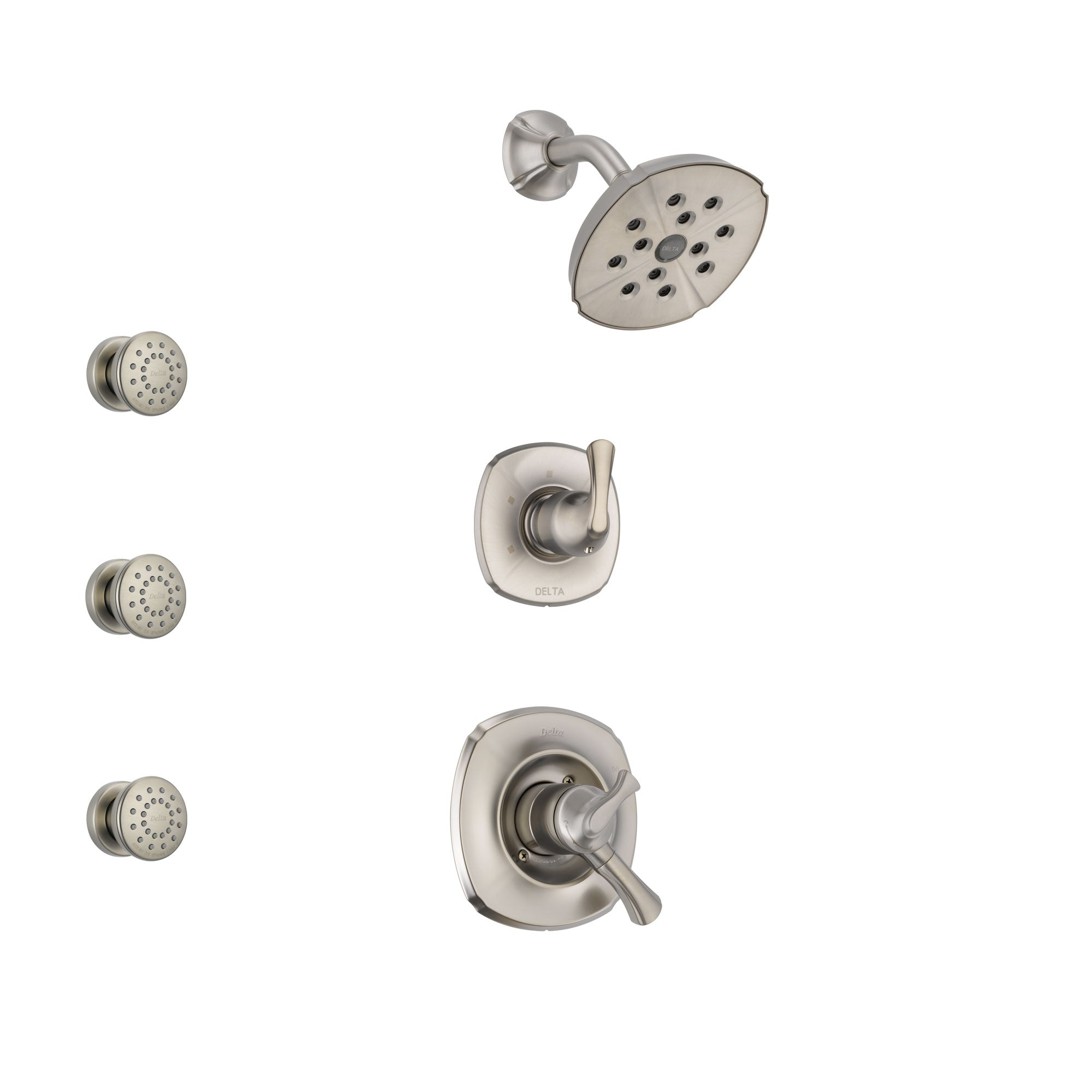 Delta Addison Stainless Steel Finish Shower System with Dual Control Handle, 3-Setting Diverter, Showerhead, and 3 Body Sprays SS17292SS1