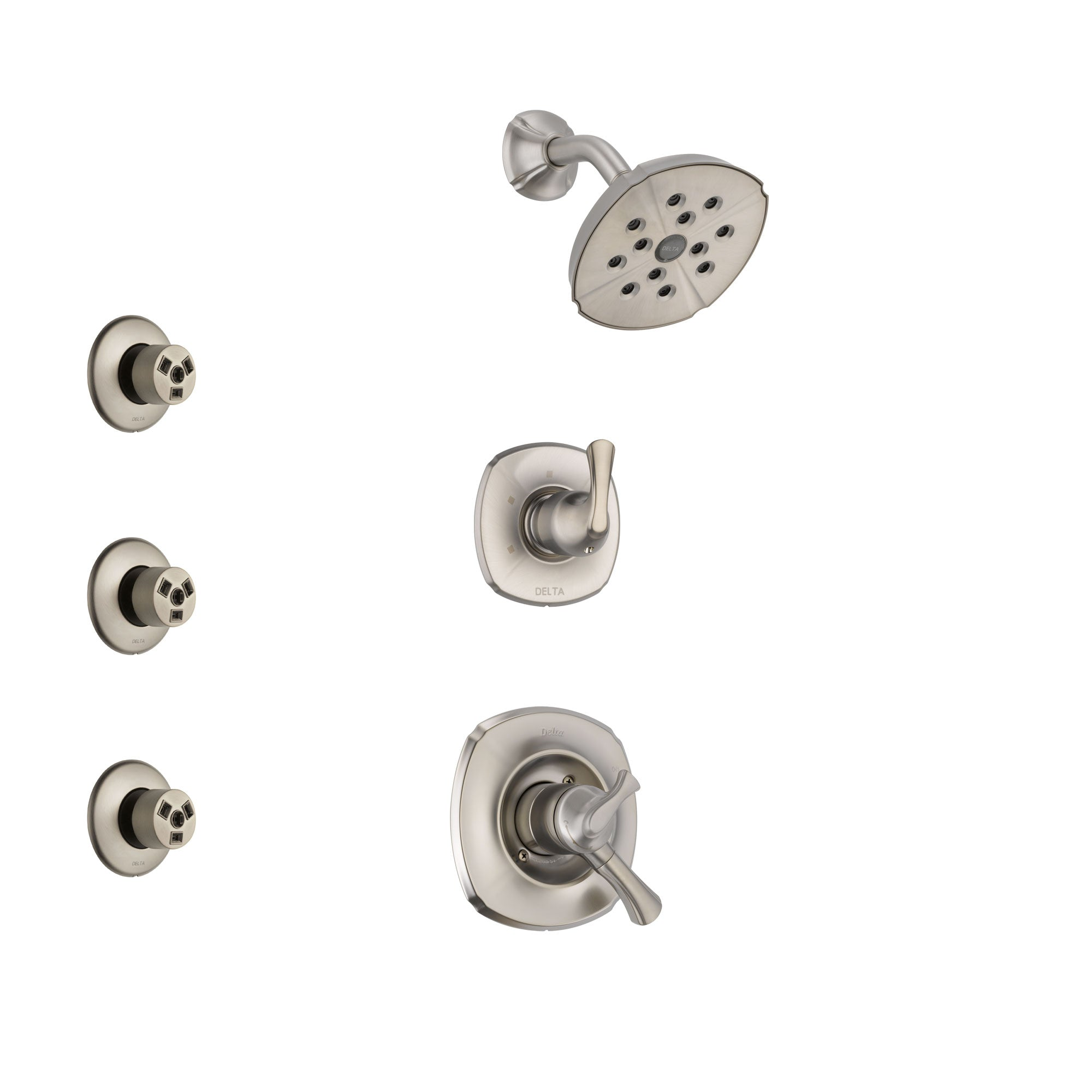 Delta Addison Stainless Steel Finish Shower System with Dual Control Handle, 3-Setting Diverter, Showerhead, and 3 Body Sprays SS17292SS2