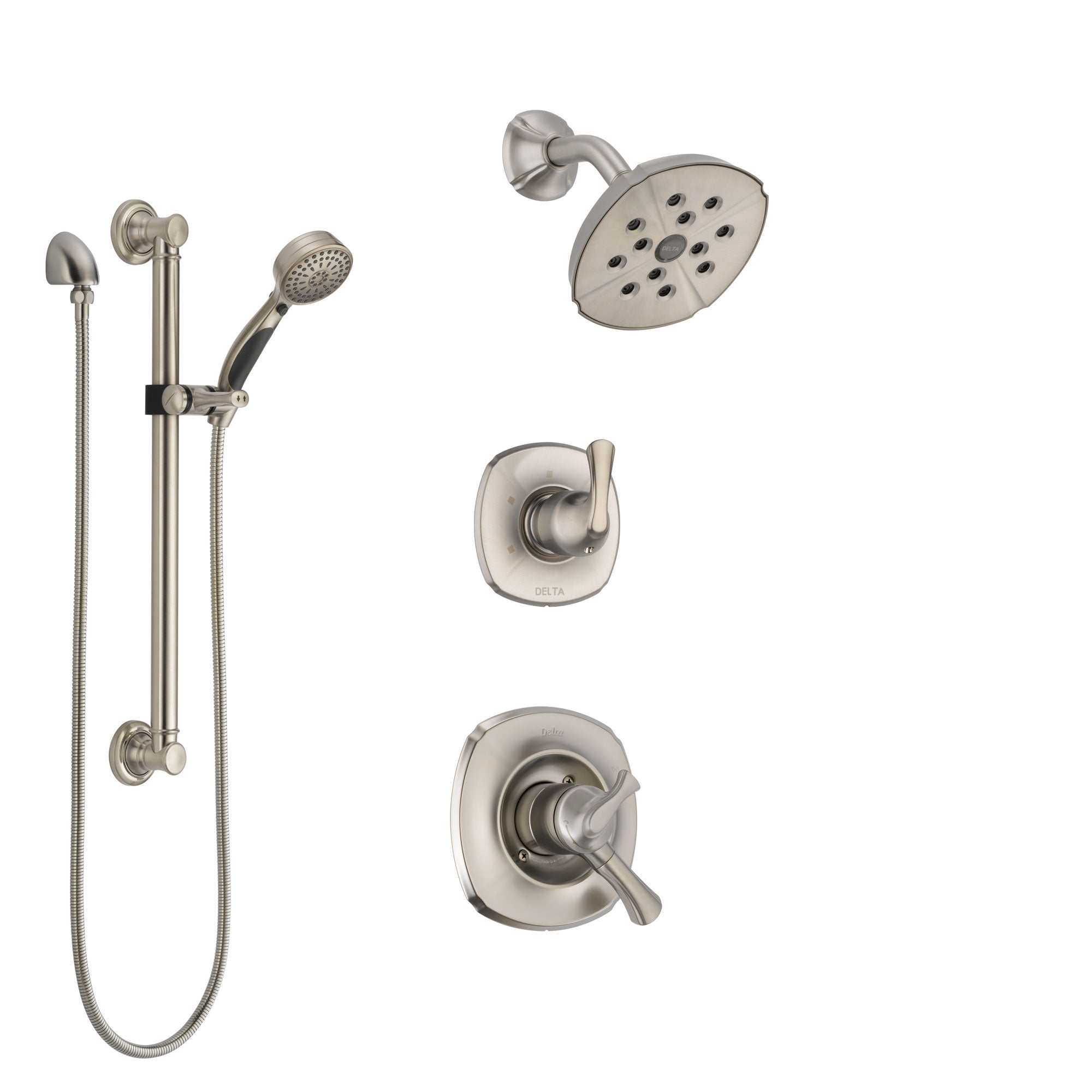 Delta Addison Stainless Steel Finish Shower System with Dual Control Handle, 3-Setting Diverter, Showerhead, and Hand Shower with Grab Bar SS17292SS3