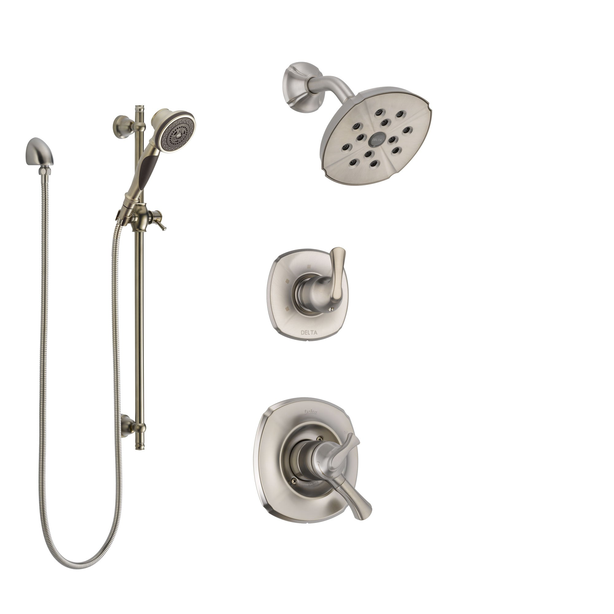 Delta Addison Stainless Steel Finish Shower System with Dual Control Handle, 3-Setting Diverter, Showerhead, and Hand Shower with Slidebar SS17292SS6